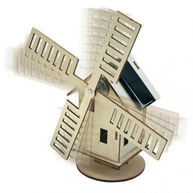 Solární stavebnice - větrný mlýn, hnědá