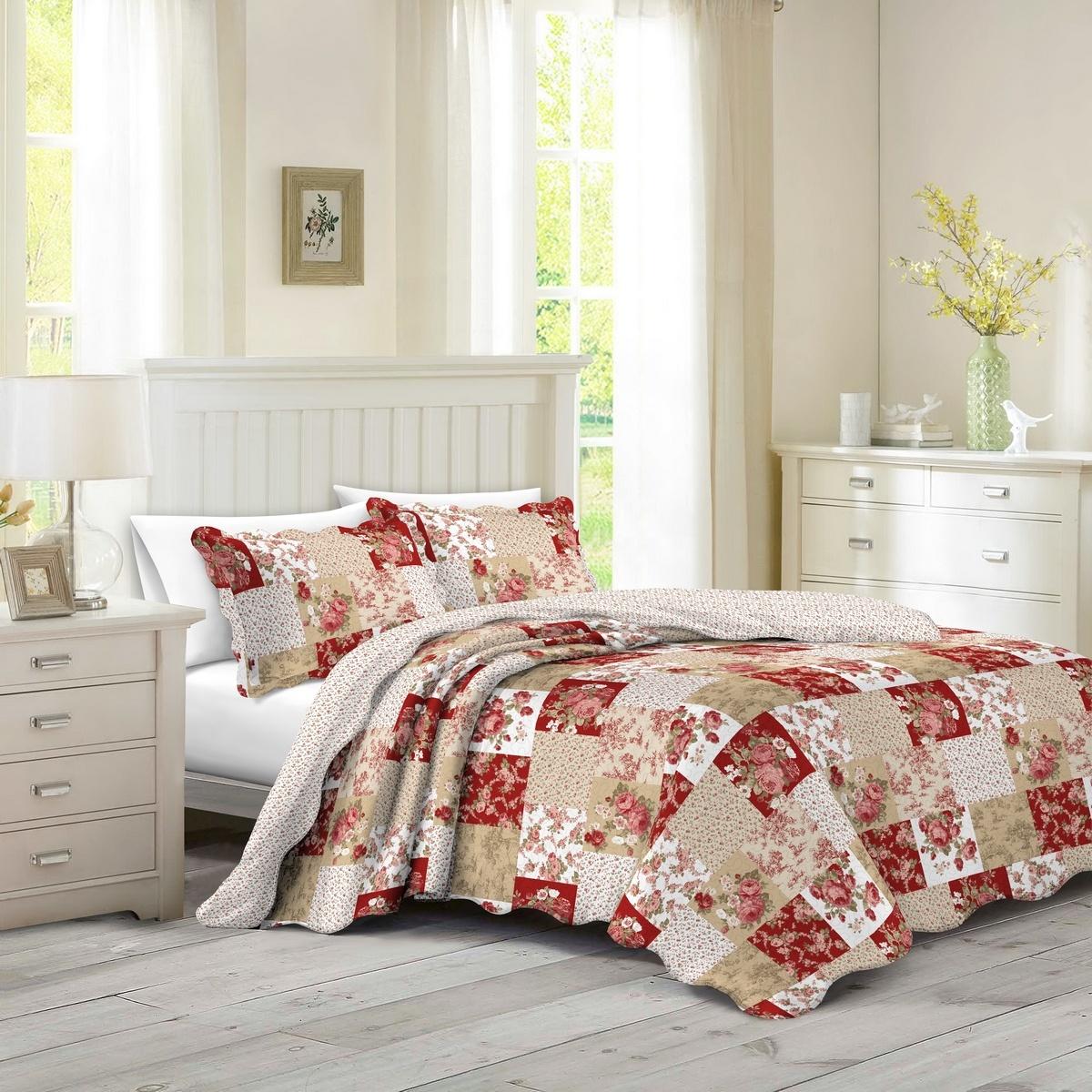 Přehoz na postel Patchwork růže Heda, 230 x 250 cm, 2 ks 50 x 70 cm