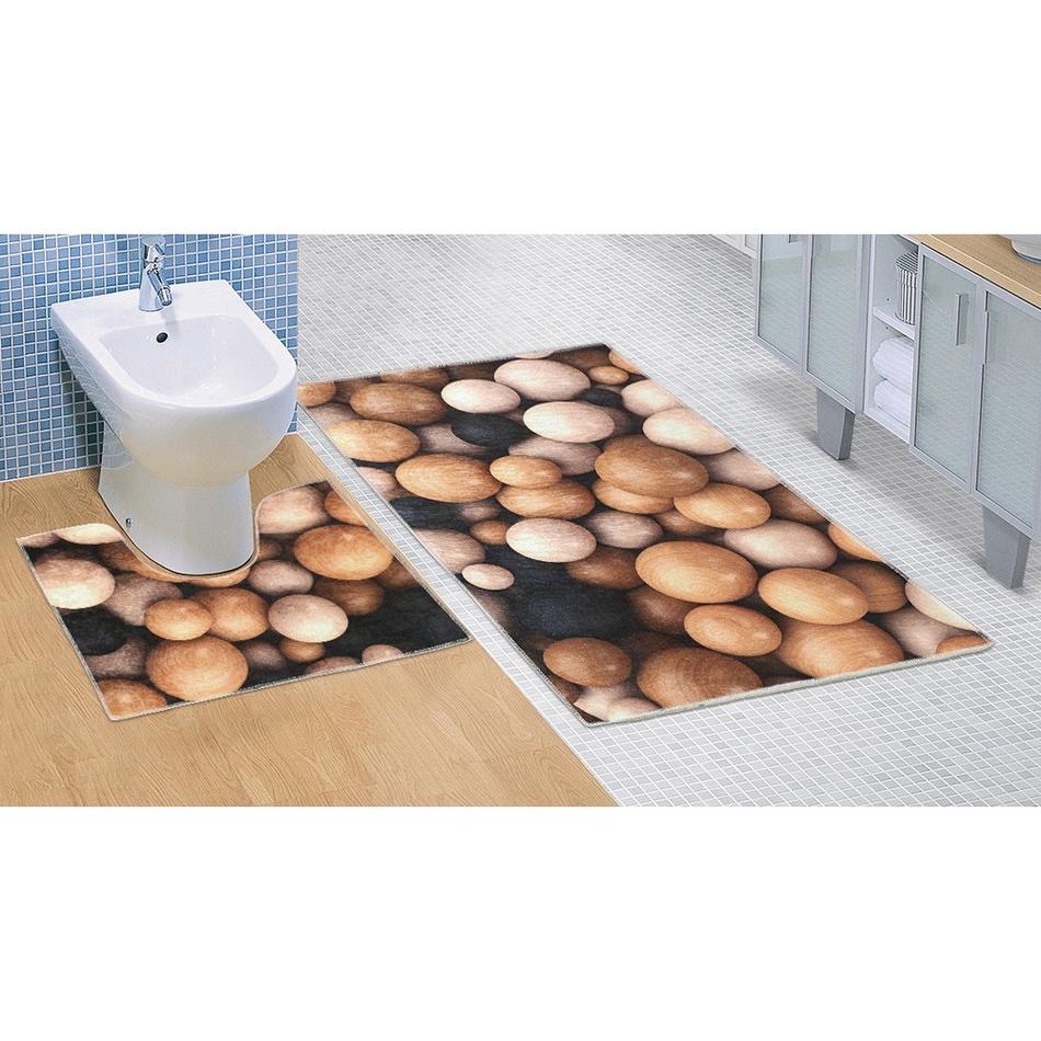 Bellatex Koupelnová předložka Dřevěné koule 3D, 60 x 100 + 60 x 50 cm