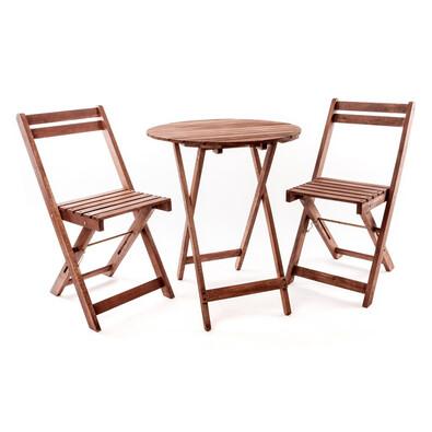 Happy Green Acacia balkonový set 3dílný s kulatým stolem