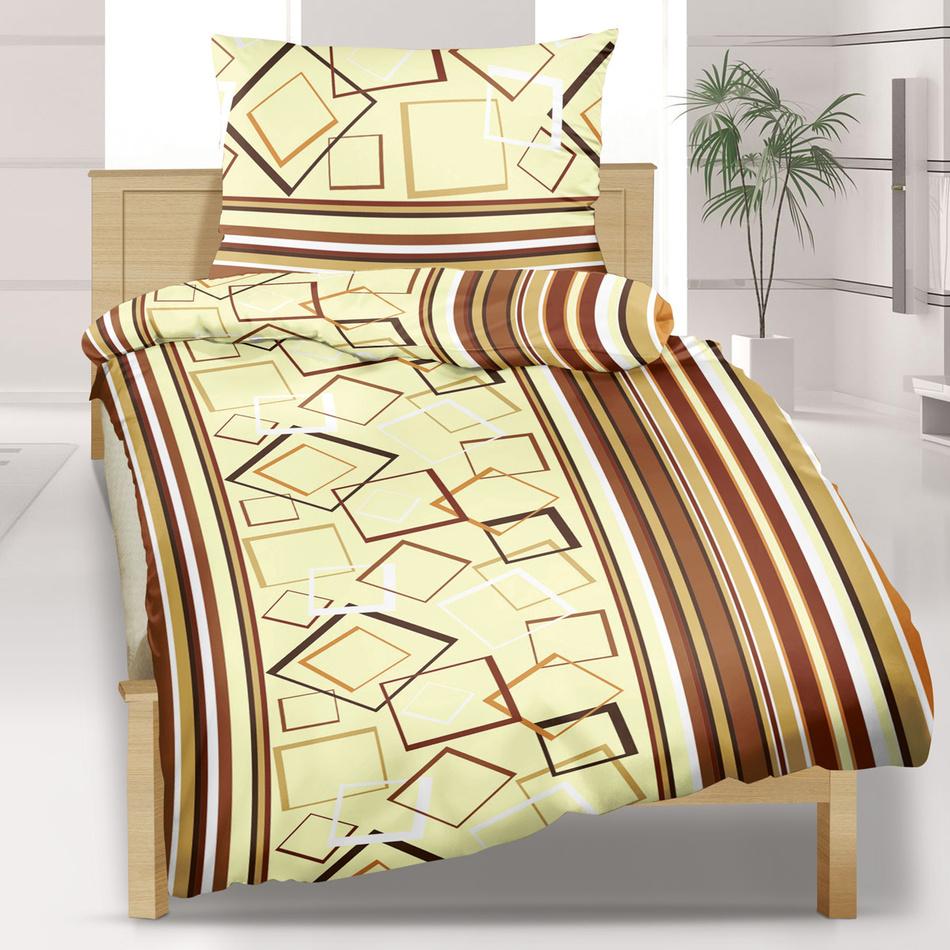Bellatex Saténové obliečky Geometrie Kosočtverce hnědé, 140 x 200 cm, 70 x 90 cm