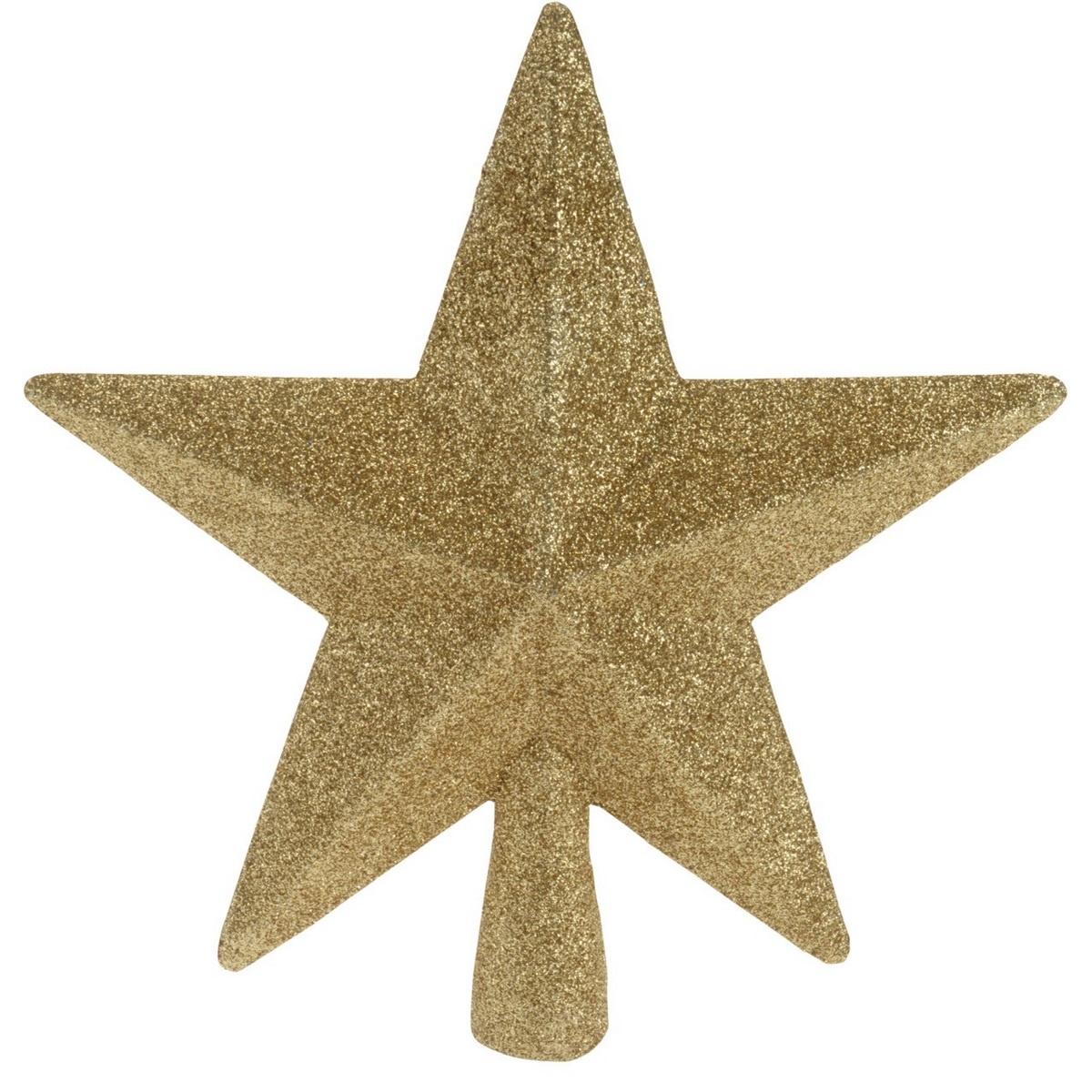 Vánoční špička na stromeček hvězda Oliveri zlatá, 19 x 5 cm