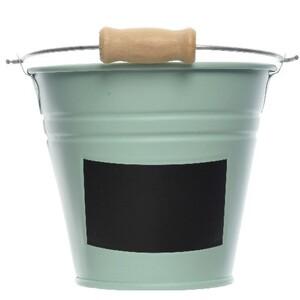 Kbelík s popisovacím štítkem zelená, pr. 11 cm