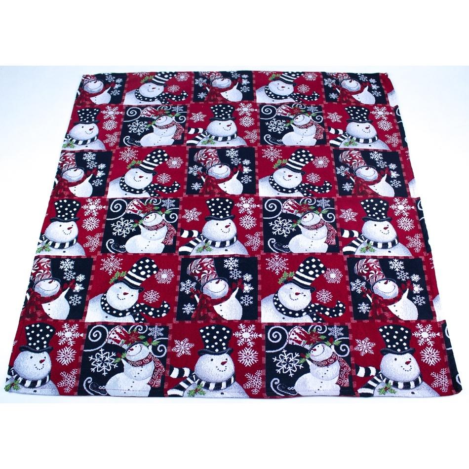 BO-MA Trading Vánoční ubrus Sněhuláci, 100 x 100 cm