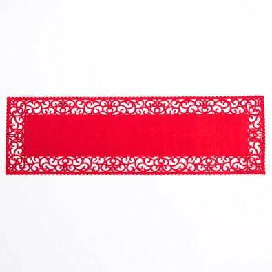 Běhoun plstěný plný červený, 100 x 30 cm