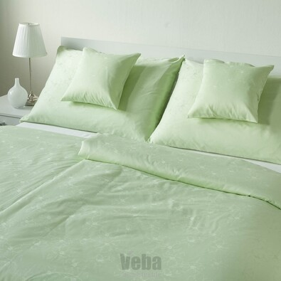 Lenjerie de pat VEBA Damasc Bohema Flori mari, verde, 140 x 200 cm, 70 x 90 cm