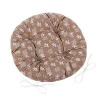 Siedzisko Adela okrągłe pikowane Kwiatek brązowy, 40 cm