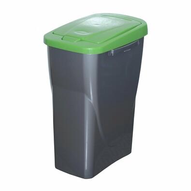 Szelektív hulladékgyűjtő kosár, 51 x 21,5 x 36 cm, zöld fedél, 25 l