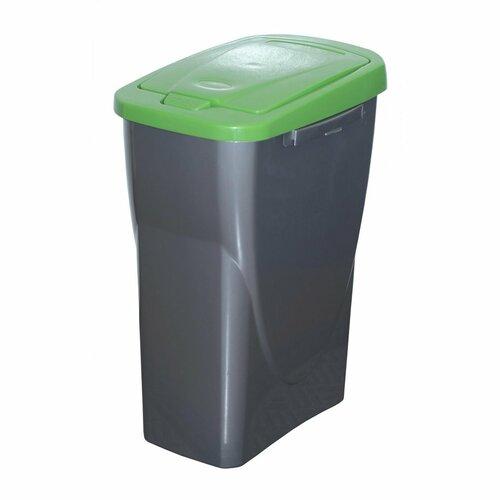 Kosz na odpady segregowane 51 x 21,5 x 36 cm, zielony pokrywa, 25 l