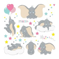 Decorațiune autocolantă Dumbo, 30 x 30 cm