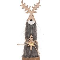 Świąteczny Renifer drewniany Erwin szary, 30 cm