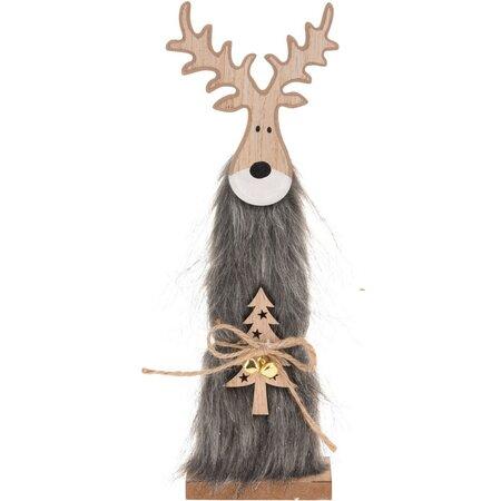 Vánoční dřevěný Sob Ervín šedá, 30 cm