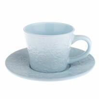 Kerámi csésze és csészealj  kék virág, 180 ml