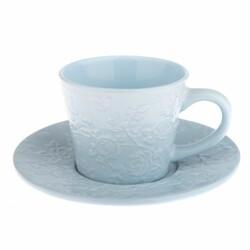 Ceașcă ceramică cu farfurioară, floare albastră, 180 ml
