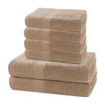 DecoKing Komplet ręczników Marina jasnobrązowy, 4 szt. 50 x 100 cm, 2 szt. 70 x 140 cm