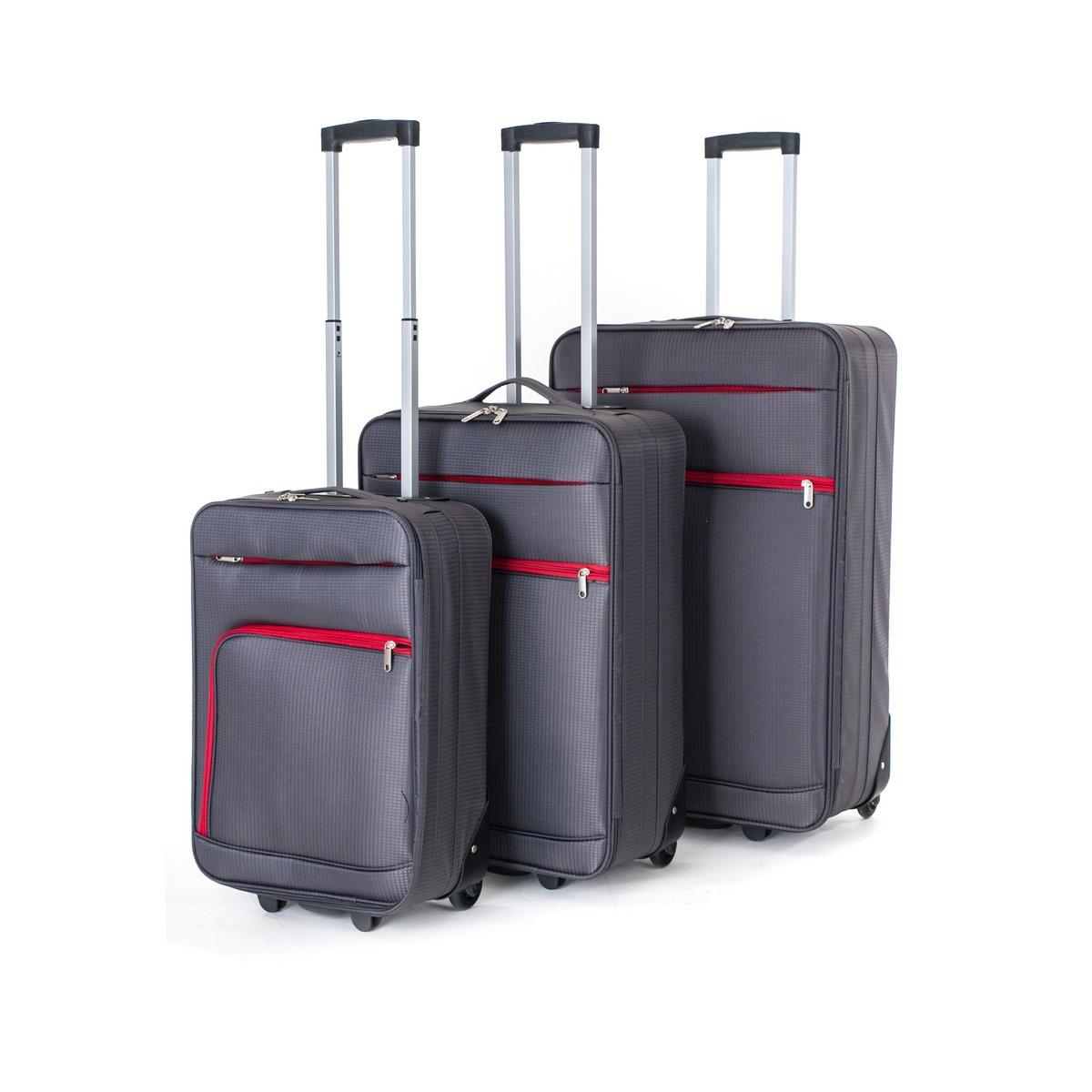 Pretty UP Sada cestovních textilních kufrů TEX01 3 ks, šedá