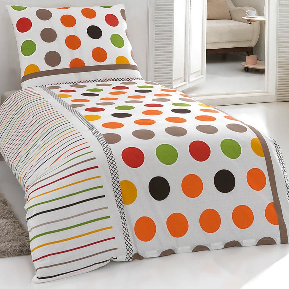 Night in Colours Bavlnené obliečky Pera oranžová, 140 x 200 cm, 70 x 90 cm