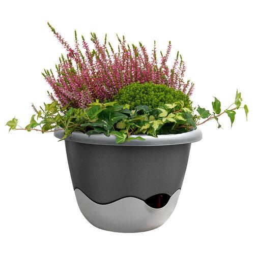 Plastia Samozavlažovací květináč Mareta šedá, pr. 30 cm