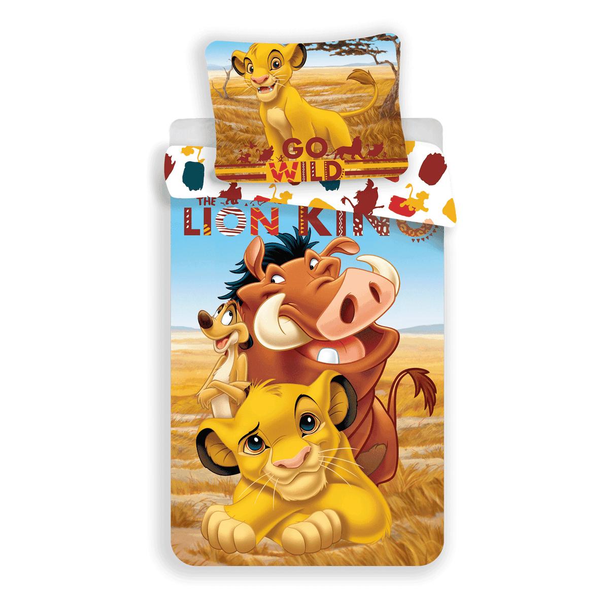 Jerry Fabrics Dětské bavlněné povlečení Lví Král Lion King, 140 x 200 cm, 70 x 90 cm