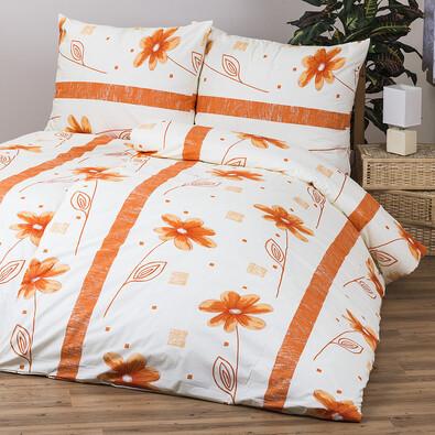 Bavlněné povlečení Anežka oranžová, 140 x 200 cm, 70 x 90 cm