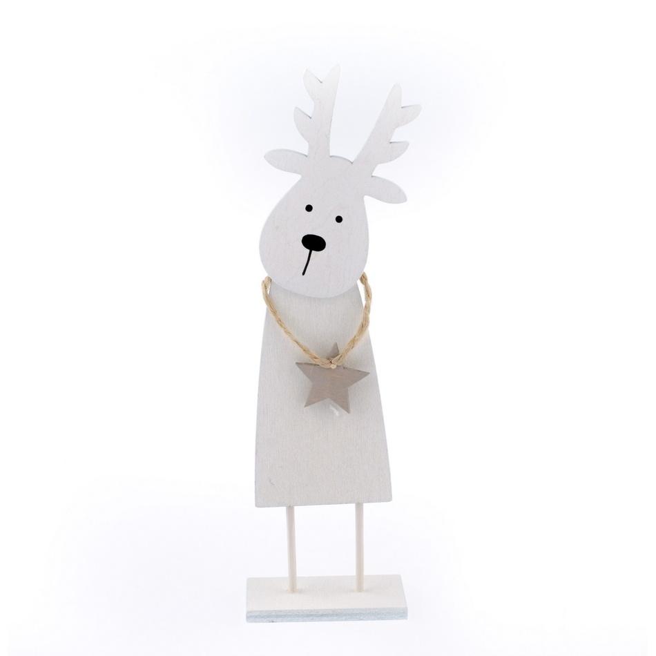 Vánoční dřevěný sob Rudolf, bílá