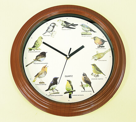 Hodiny s ptáčky se zvukem, vícebarevná, pr. 33 cm