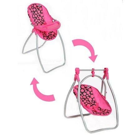 PlayTo Jídelní židlička a houpačka pro panenky Isabela, 58 x 32 x 43 cm