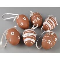 Sada ručně malovaných vajíček s mašlí hnědá, 6 ks