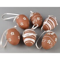 Sada ručne maľovaných vajíčok s mašľou hnedá, 6 ks