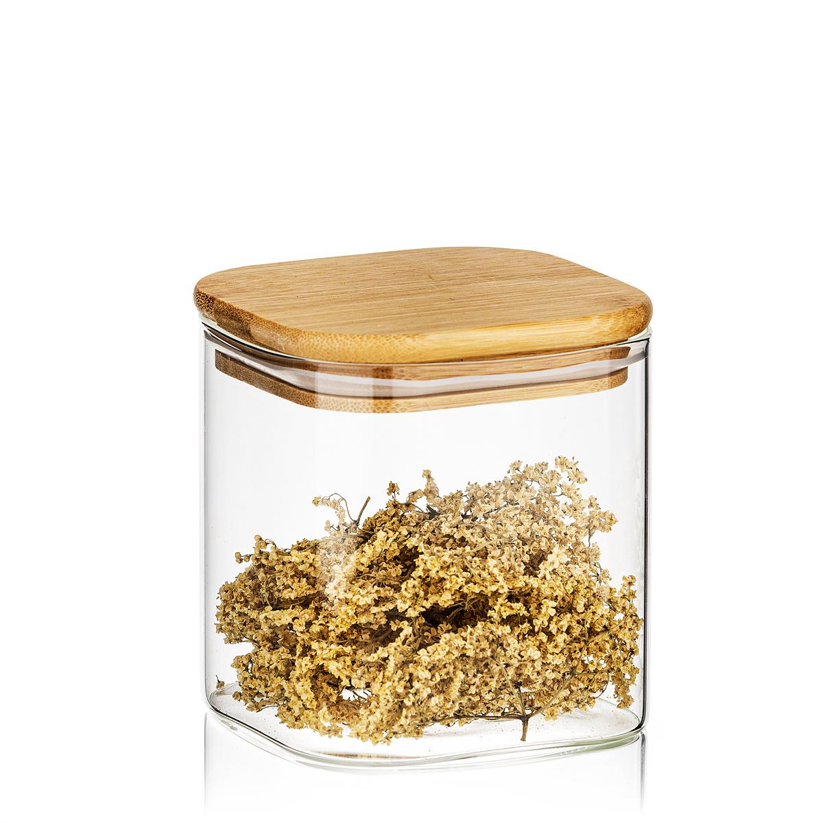 4Home Sklenená dóza na potraviny s viečkom Bamboo, 550 ml