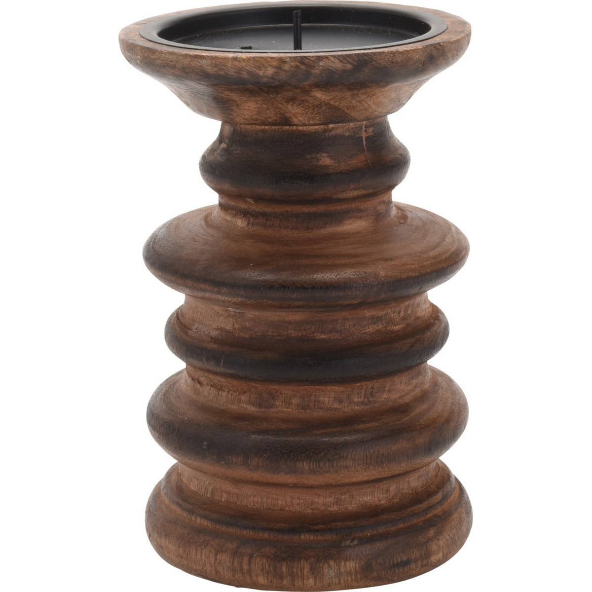Svícen z mangového dřeva Magnifera hnědá, 9 x 15 cm