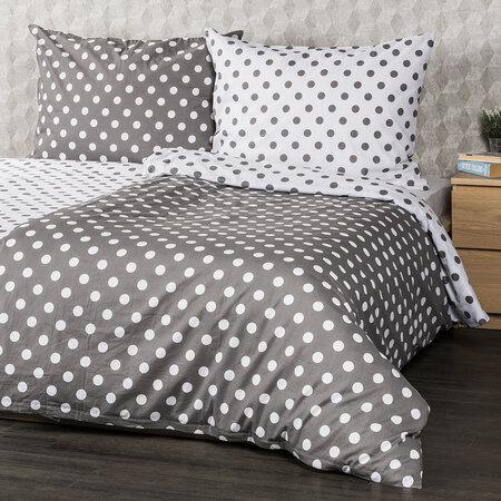 4home Bavlnené obliečky Sivá bodka, 140 x 200 cm, 70 x 90 cm