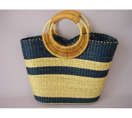 Nákupní taška s ratanovými uchy modrá