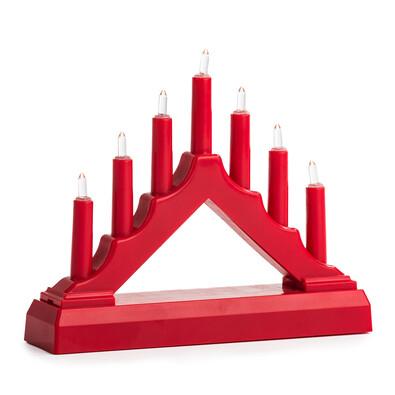 Vánoční LED svícen, červená