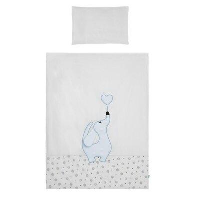Belisima Detské bavlnené obliečky Lovely Puppy modrá, 100 x 135 cm, 40 x 60 cm