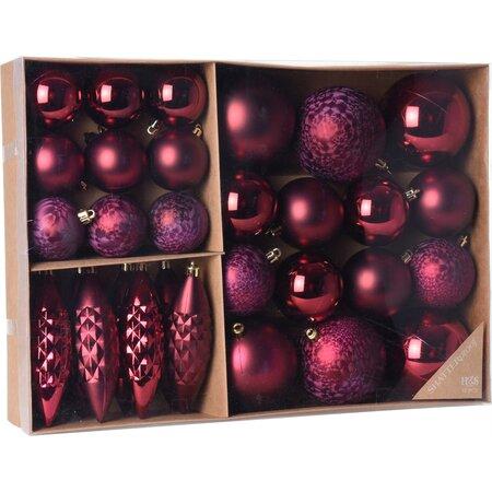 Sada vianočných ozdôb Terme tmavoružová, 31 ks