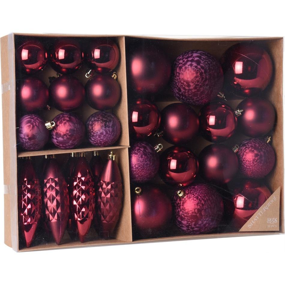 Sada vánočních ozdob Terme červená, 31 ks