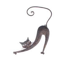 Kovová kočka na zeď hnědá