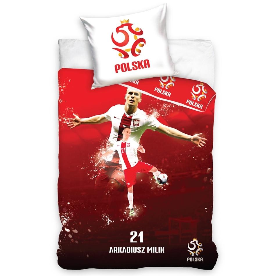 TipTrade Bavlněné povlečení Polska Milik Red, 160 x 200 cm, 70 x 80 cm