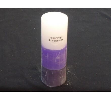Tříbarevná svíčka s vůní černých hroznů válec