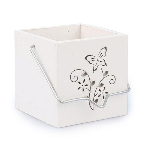 Závěsný dřevěný svícen motýl bílá, ZS0505