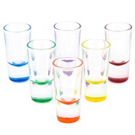 Altom 6dielna sada poldecákov na vodku 25 ml, farebné dno