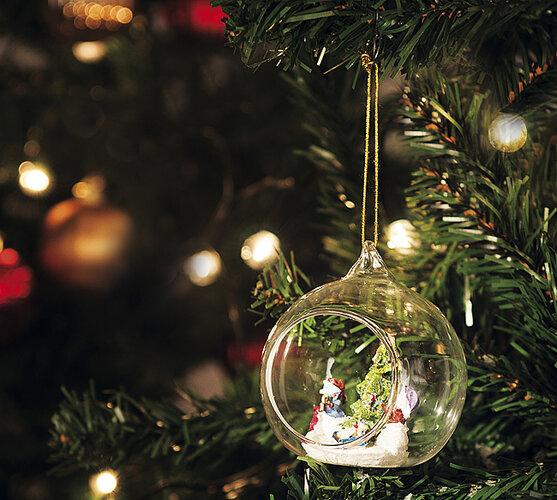 Originálna vianočná ozdoba, transparentná,