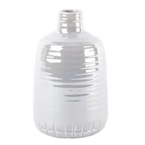 Keramická perleťová váza šedá, 21 cm