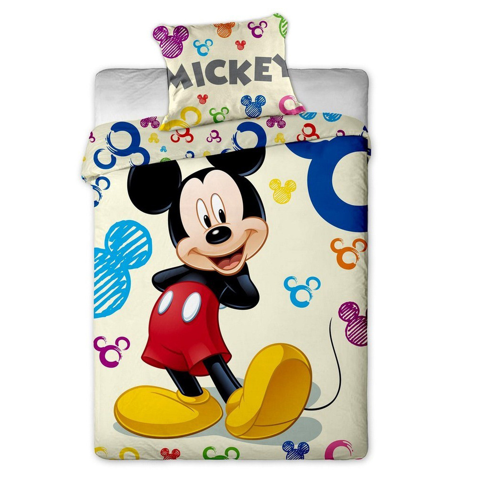 Jerry Fabrics dětské bavlněné povlečení Mickey colours, 140 x 200 cm, 70 x 90 cm