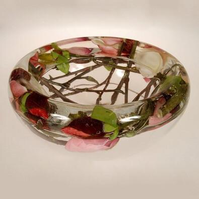 Skleněná mísa Magnolie vínová