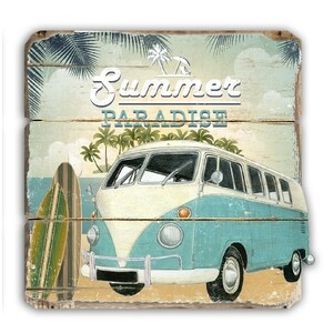 Retro dekorační deska Summer modrá, 40 x 42 cm