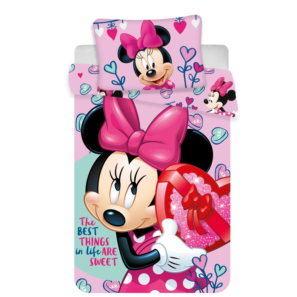 Pościel dziecięca do łóżeczka Minnie baby pink, 100 x 135 cm, 40 x 60 cm