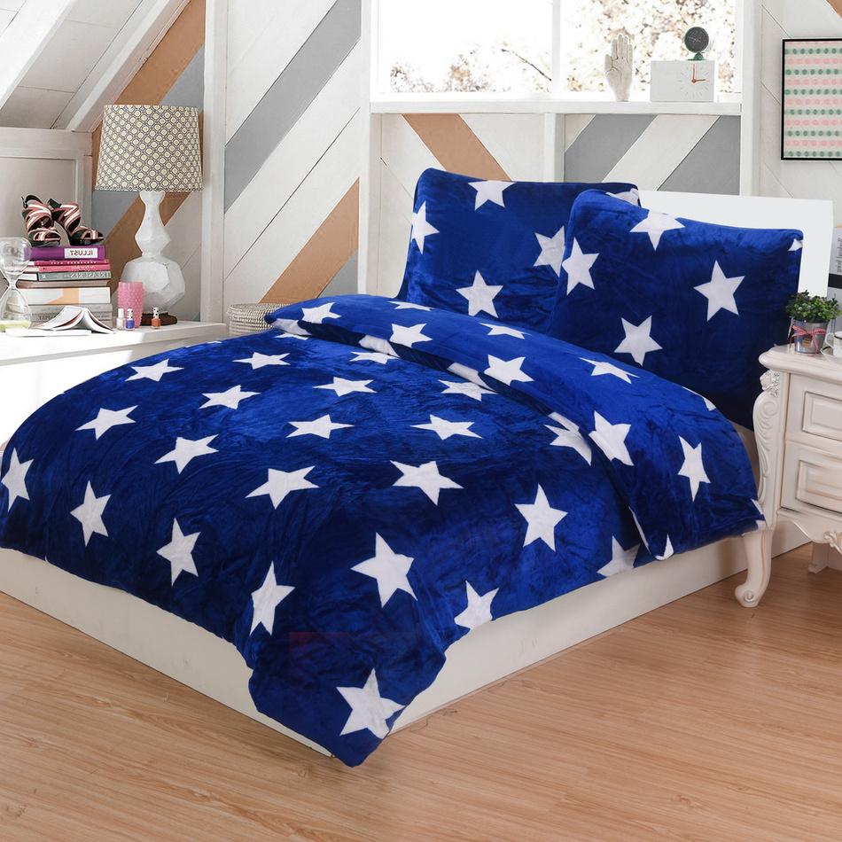 Jahu Povlečení mikroplyš Stars modrá, 140 x 200 cm, 70 x 90 cm