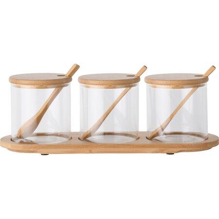 4home Bamboo üveg élelmiszer tároló szett  kiskanáll és tálcával 310 ml